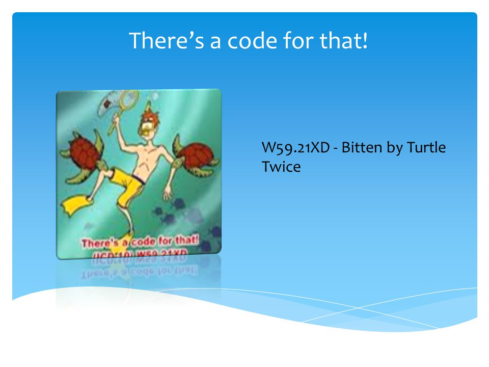 There's a code for that! W59.21XD - Bitten by Turtle Twice