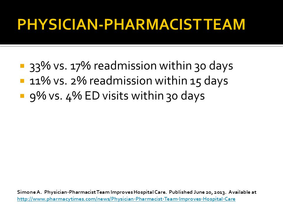  33% vs. 17% readmission within 30 days  11% vs.