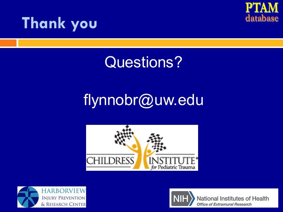 Thank you Questions? flynnobr@uw.edu