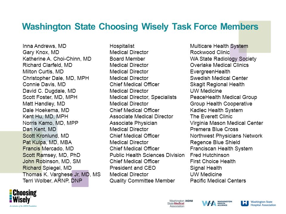Washington State Choosing Wisely Task Force Members Inna Andrews, MDHospitalistMulticare Health System Gary Knox, MDMedical DirectorRockwood Clinic Ka