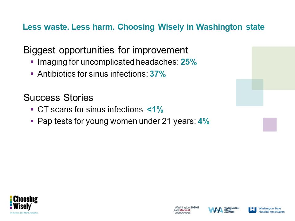 Less waste. Less harm. Choosing Wisely in Washington state Biggest opportunities for improvement  Imaging for uncomplicated headaches: 25%  Antibiot
