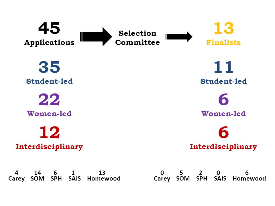 45 Applications Selection Committee 13 Finalists 22 Women-led 35 Student-led 12 Interdisciplinary 6 Women-led 11 Student-led 6 Interdisciplinary Carey