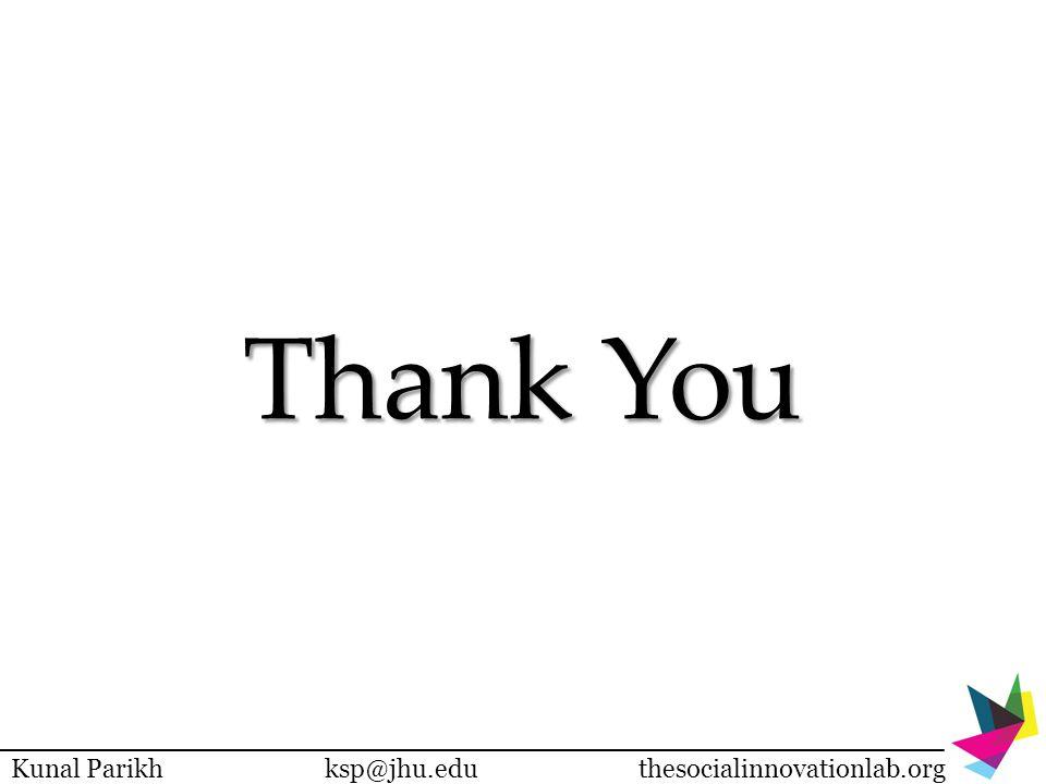 Thank You Kunal Parikhksp@jhu.eduthesocialinnovationlab.org