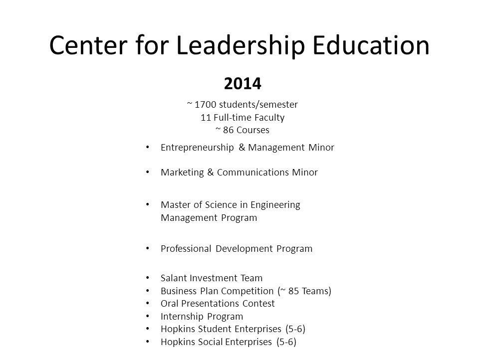 Center for Leadership Education 2014 ~ 1700 students/semester 11 Full-time Faculty ~ 86 Courses Entrepreneurship & Management Minor Marketing & Commun
