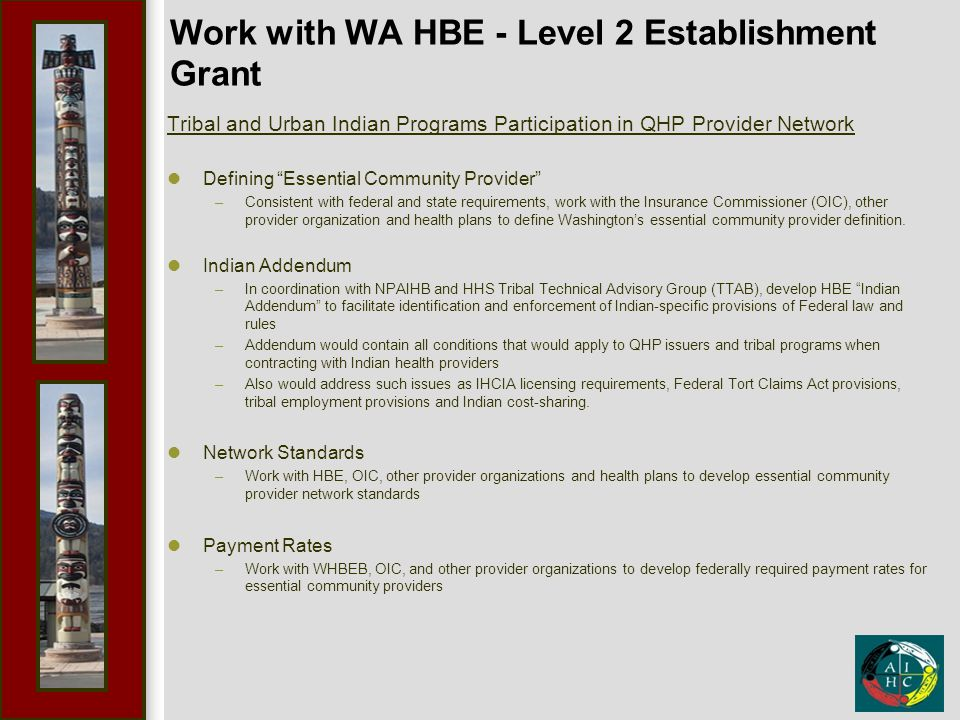 """Work with WA HBE - Level 2 Establishment Grant Tribal and Urban Indian Programs Participation in QHP Provider Network Defining """"Essential Community Pr"""
