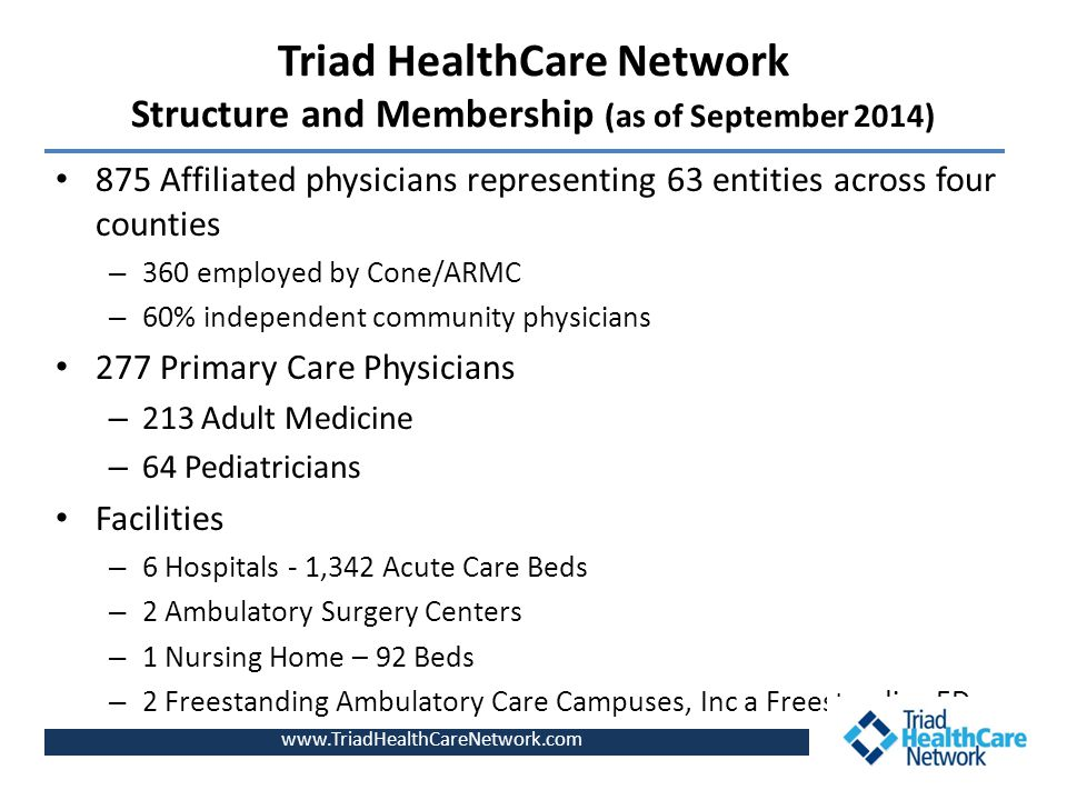 Triad HealthCare Network Structure and Membership (as of September 2014) 875 Affiliated physicians representing 63 entities across four counties – 360 employed by Cone/ARMC – 60% independent community physicians 277 Primary Care Physicians – 213 Adult Medicine – 64 Pediatricians Facilities – 6 Hospitals - 1,342 Acute Care Beds – 2 Ambulatory Surgery Centers – 1 Nursing Home – 92 Beds – 2 Freestanding Ambulatory Care Campuses, Inc a Freestanding ED www.TriadHealthCareNetwork.com