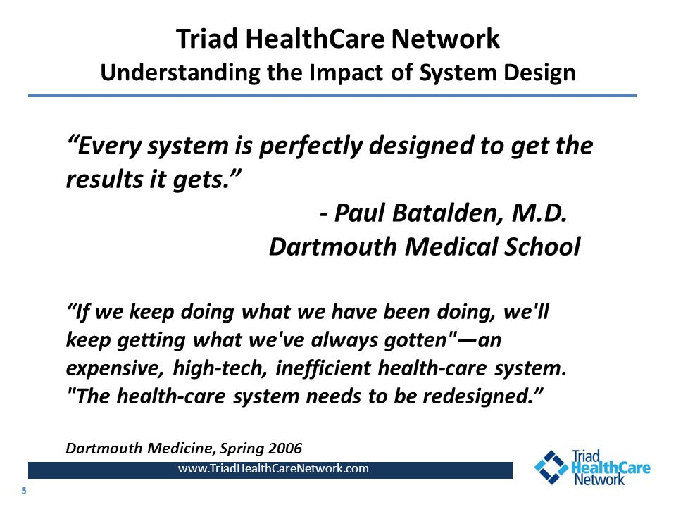 Triad HealthCare Network Understanding the Impact of System Design www.TriadHealthCareNetwork.com 5 5 Every system is perfectly designed to get the results it gets. - Paul Batalden, M.D.