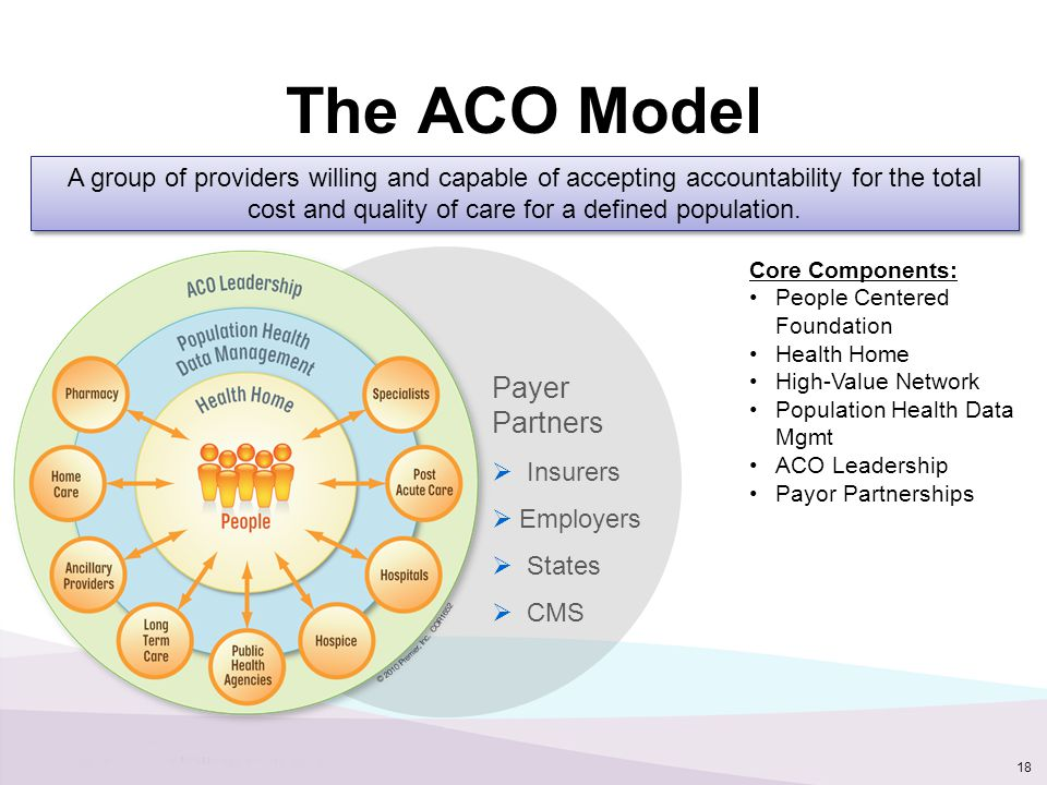 The ACO Model 18 A group of providers willing and capable of accepting accountability for the total cost and quality of care for a defined population.