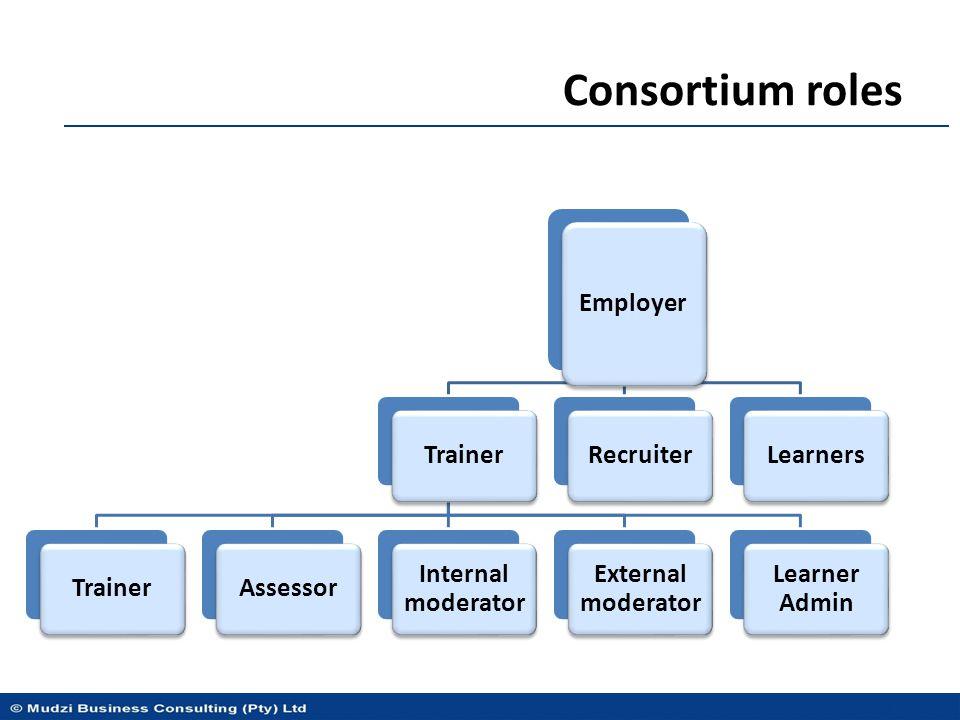 Consortium roles Employer Trainer Assessor Internal moderator External moderator Learner Admin RecruiterLearners