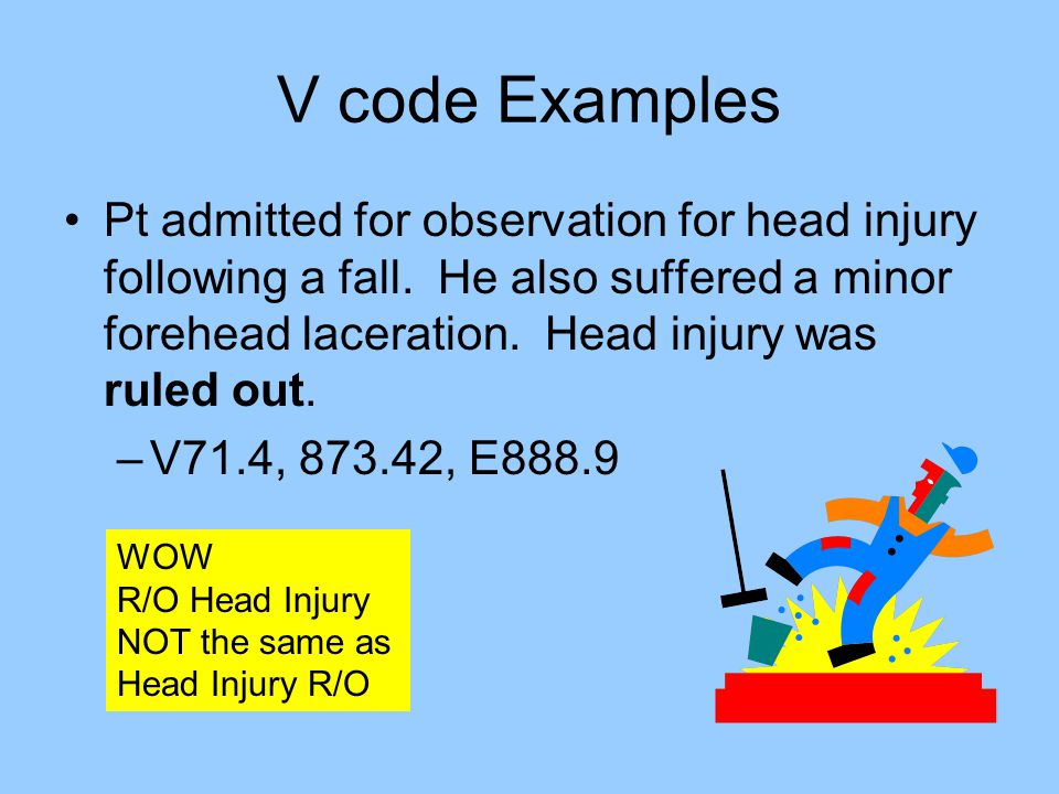 V code Examples Pt admitted for observation for head injury following a fall. He also suffered a minor forehead laceration. Head injury was ruled out.