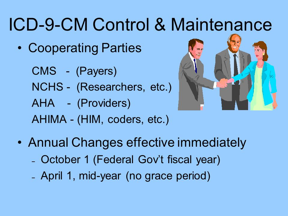 ICD-9-CM Control & Maintenance Cooperating Parties CMS - (Payers) NCHS - (Researchers, etc.) AHA - (Providers) AHIMA - (HIM, coders, etc.) Annual Chan
