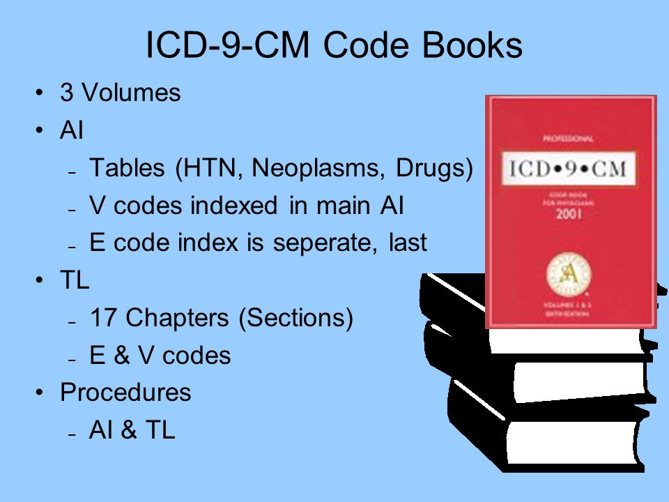 ICD-9-CM Code Books 3 Volumes AI – Tables (HTN, Neoplasms, Drugs) – V codes indexed in main AI – E code index is seperate, last TL – 17 Chapters (Sect