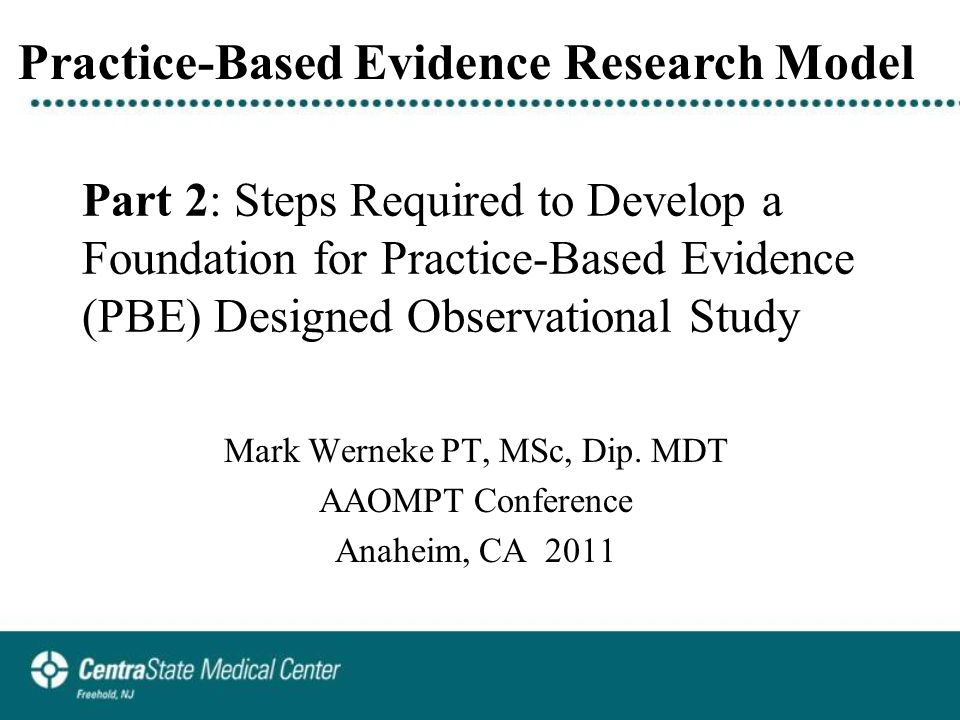 Part 3: Clinical Data and Initial Results of Multi-Clinic PBE Research Studies: Investigating Outcomes for Patients with Low Back Pain Managed by a Patient-Response Classification Method Mark Werneke PT, MSc, Dip.