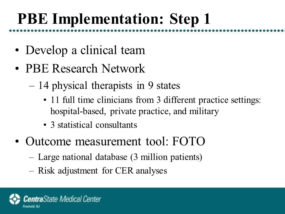 PBE Implementation: Step 1 Develop a clinical team PBE Research Network –14 physical therapists in 9 states 11 full time clinicians from 3 different practice settings: hospital-based, private practice, and military 3 statistical consultants Outcome measurement tool: FOTO –Large national database (3 million patients) –Risk adjustment for CER analyses