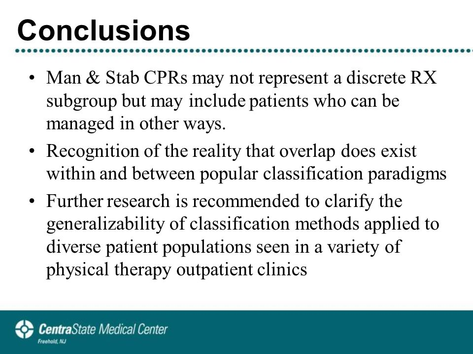 Conclusions Man & Stab CPRs may not represent a discrete RX subgroup but may include patients who can be managed in other ways.