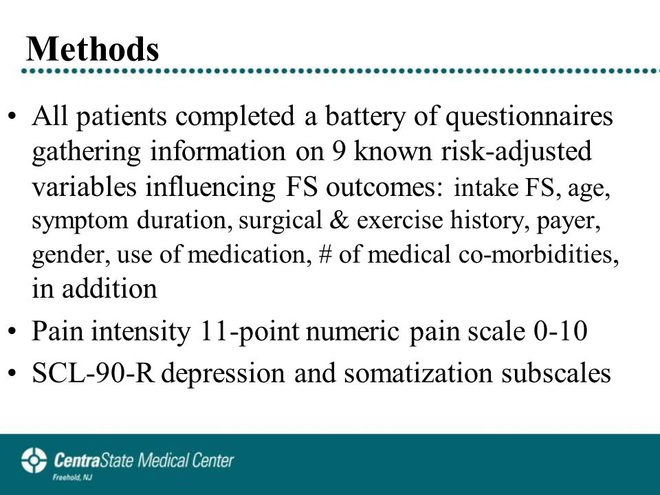 Methods All patients completed a battery of questionnaires gathering information on 9 known risk-adjusted variables influencing FS outcomes: intake FS, age, symptom duration, surgical & exercise history, payer, gender, use of medication, # of medical co-morbidities, in addition Pain intensity 11-point numeric pain scale 0-10 SCL-90-R depression and somatization subscales
