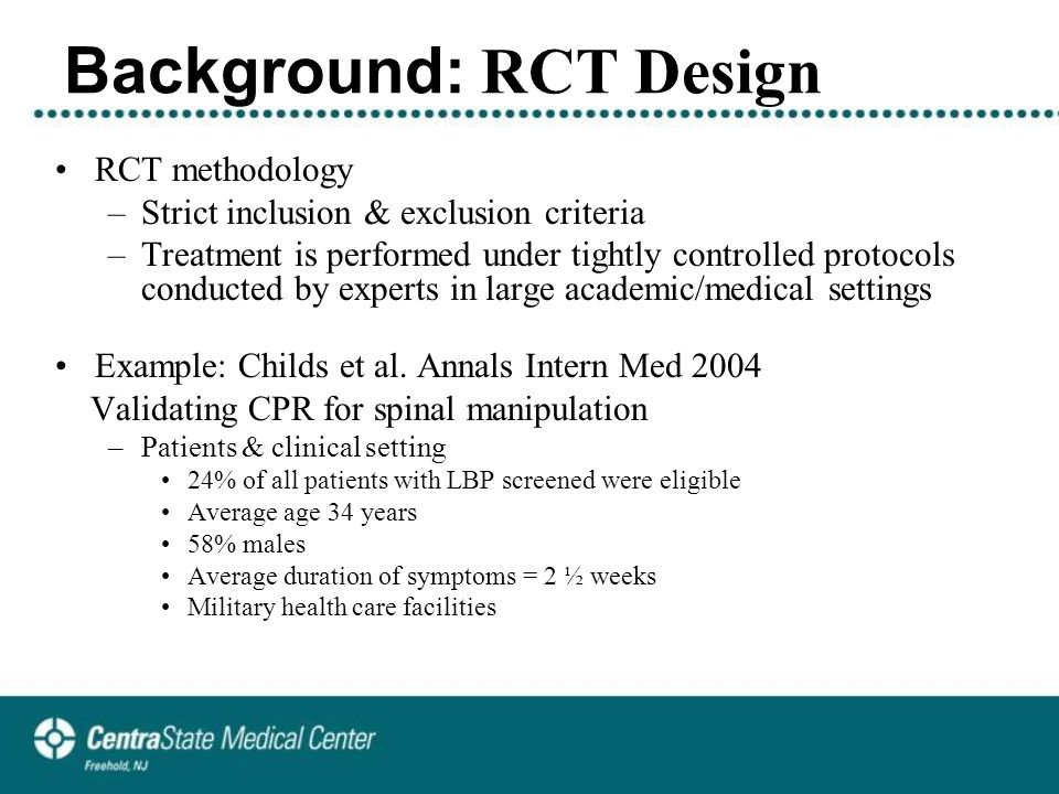Background: RCT & PBE Designs Generalizability of the evidence.