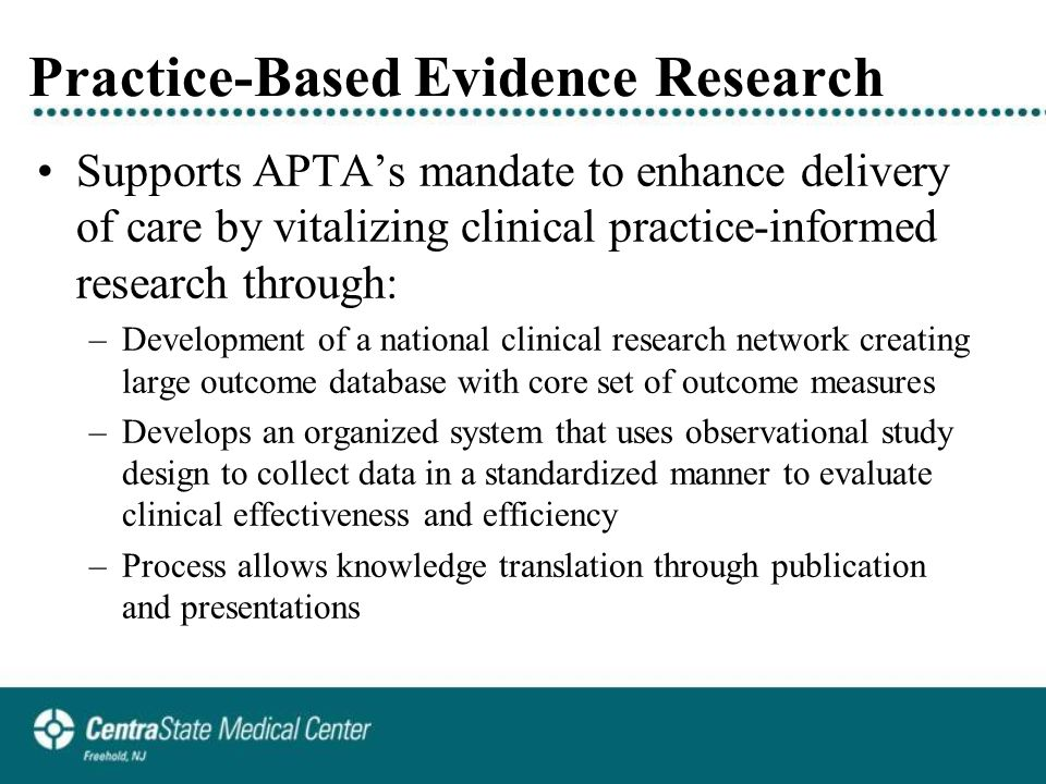 Reliability Study (ongoing) The Inter-rater Reliability Study of Clinician's Ability to Identify Directional Preference for Patients with Lumbar Impairments (ongoing) –Reliability for judging DP in absence of CEN is unknown –120 patients examined by 4 pairs of raters Examiner & observer; videotaped –Analyses: Cohen's kappa adjusted for chance, prevalence & bias indices