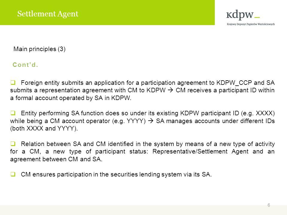 Settlement Agent Main principles (3) Cont'd.