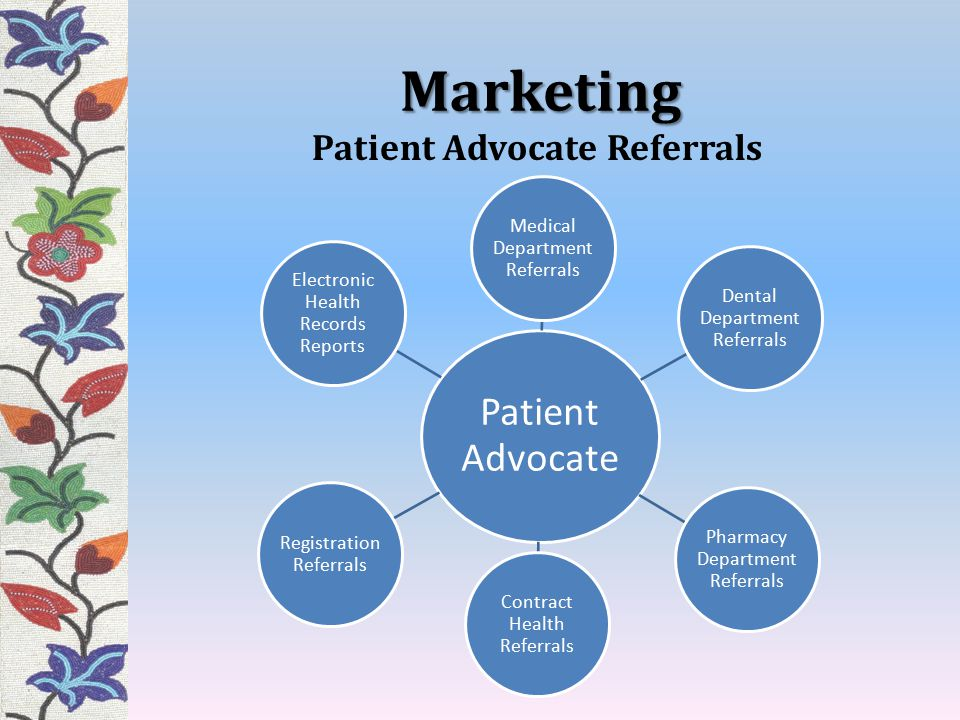 Marketing Patient Advocate Medical Department Referrals Dental Department Referrals Pharmacy Department Referrals Contract Health Referrals Registration Referrals Electronic Health Records Reports Patient Advocate Referrals