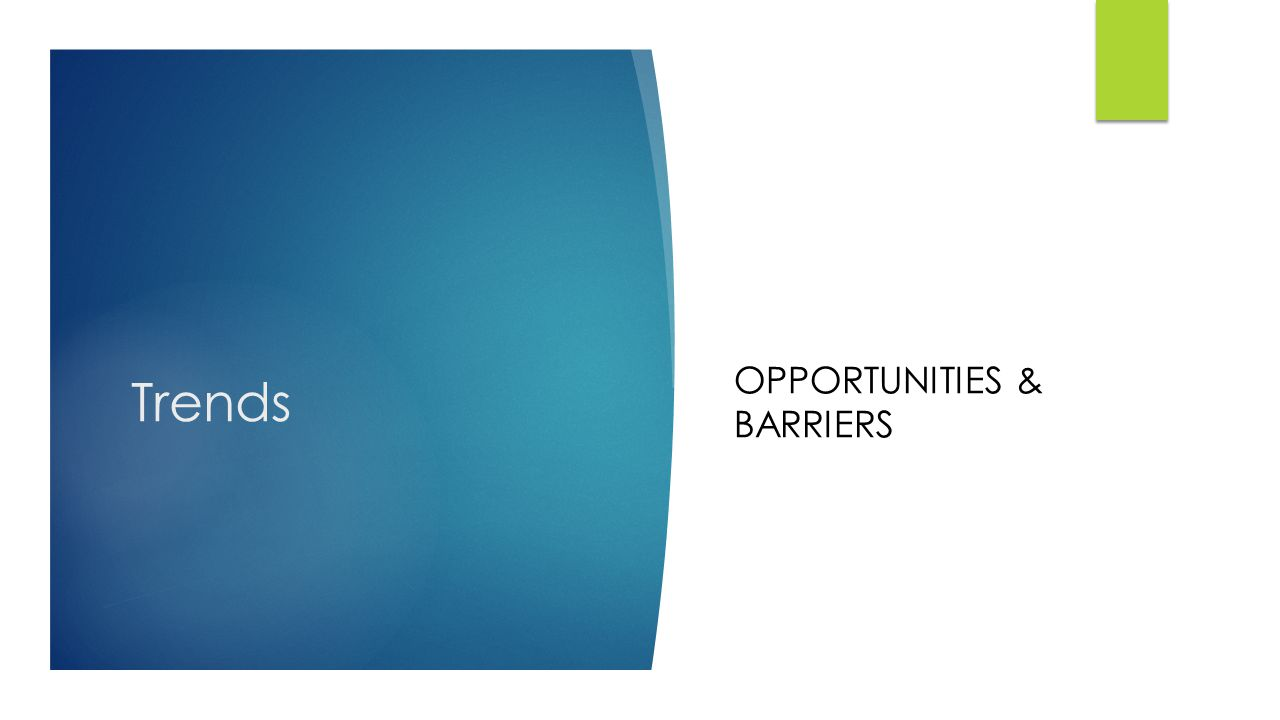 Trends OPPORTUNITIES & BARRIERS