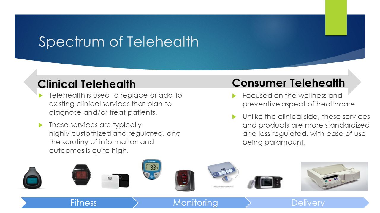 Spectrum of Telehealth Clinical Telehealth  Telehealth is used to replace or add to existing clinical services that plan to diagnose and/or treat pat