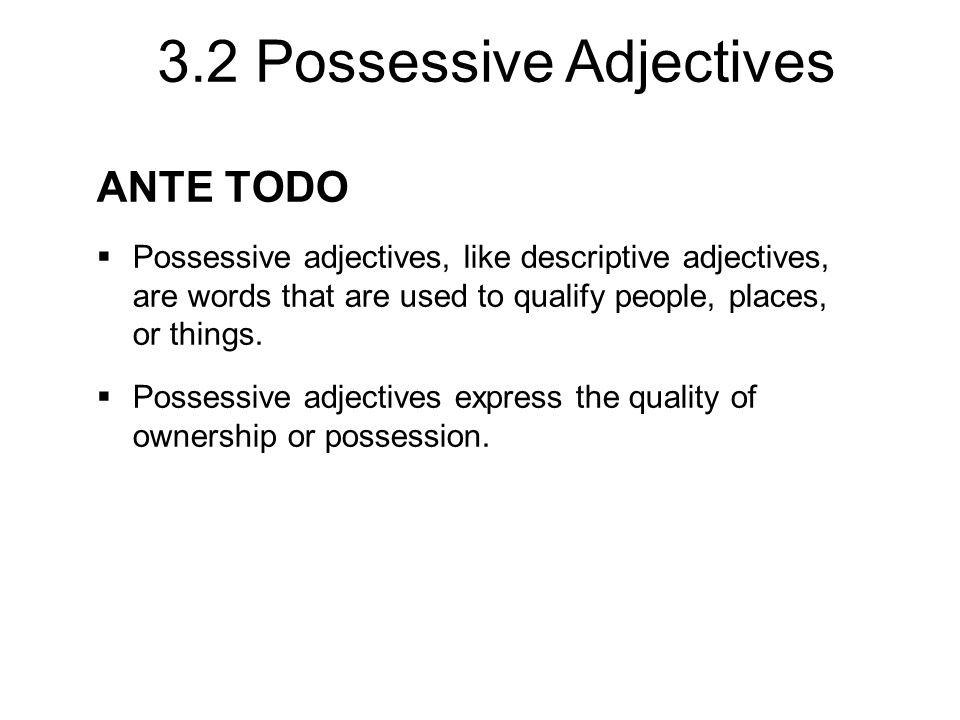 3.2 Possessive Adjectives ANTE TODO  Possessive adjectives, like descriptive adjectives, are words that are used to qualify people, places, or things