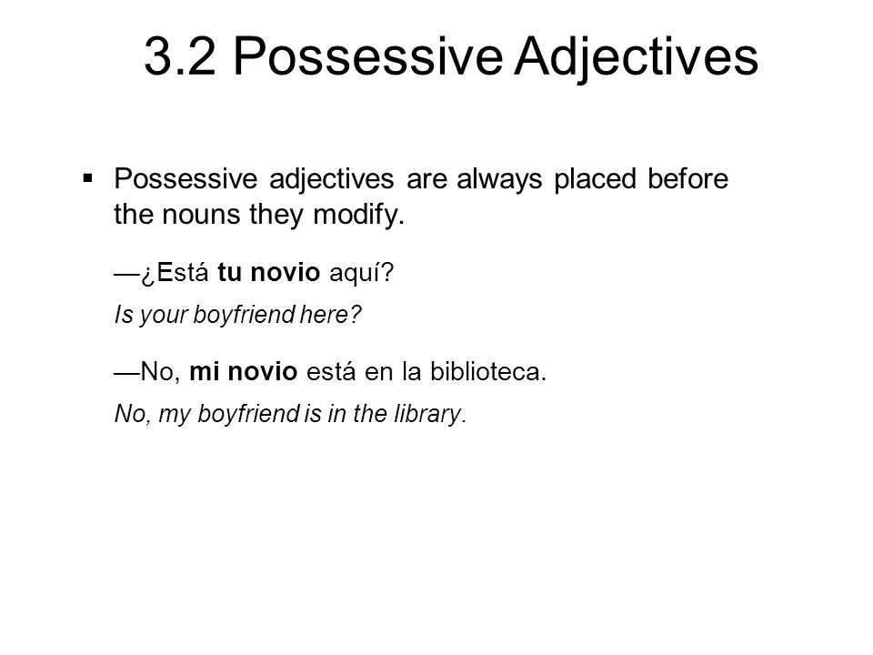 3.2 Possessive Adjectives  Possessive adjectives are always placed before the nouns they modify. —¿Está tu novio aquí? Is your boyfriend here? —No, m