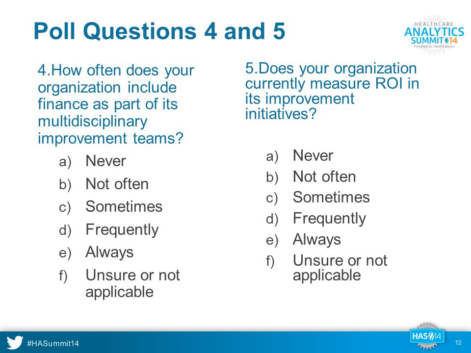 #HASummit14 Poll Questions 4 and 5 4.How often does your organization include finance as part of its multidisciplinary improvement teams? a) Never b)