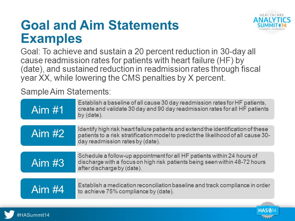 #HASummit14 Goal and Aim Statements Examples Goal: To achieve and sustain a 20 percent reduction in 30-day all cause readmission rates for patients wi