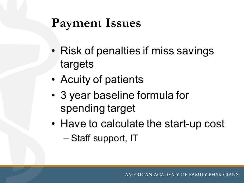 Payment Issues Risk of penalties if miss savings targets Acuity of patients 3 year baseline formula for spending target Have to calculate the start-up