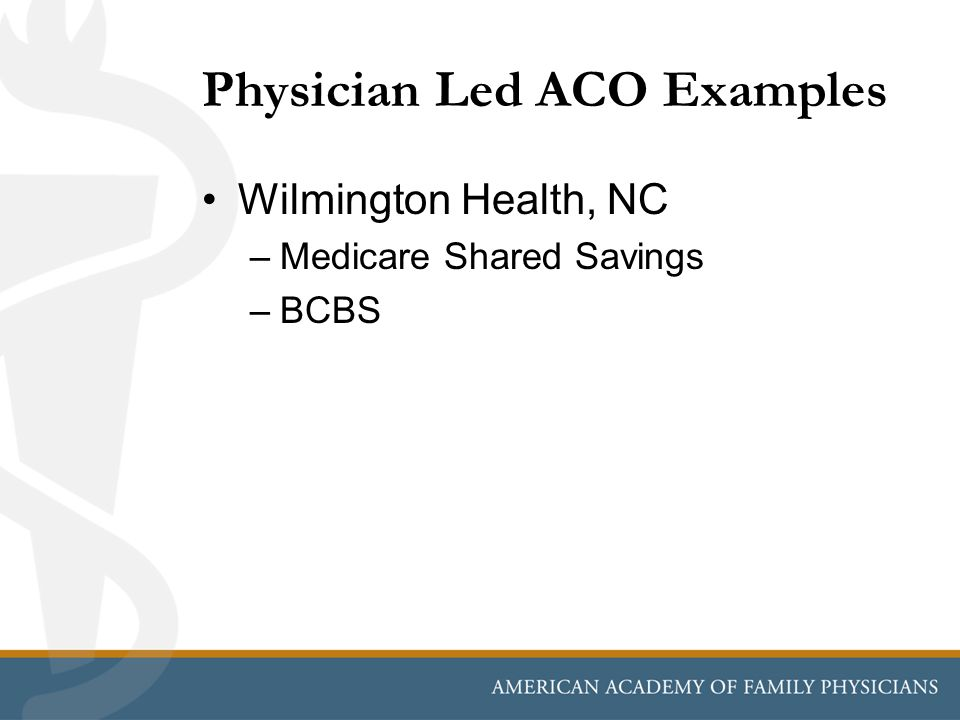 Physician Led ACO Examples Wilmington Health, NC –Medicare Shared Savings –BCBS