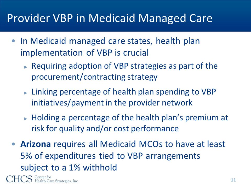 Provider VBP in Medicaid Managed Care In Medicaid managed care states, health plan implementation of VBP is crucial ► Requiring adoption of VBP strategies as part of the procurement/contracting strategy ► Linking percentage of health plan spending to VBP initiatives/payment in the provider network ► Holding a percentage of the health plan's premium at risk for quality and/or cost performance Arizona requires all Medicaid MCOs to have at least 5% of expenditures tied to VBP arrangements subject to a 1% withhold 11