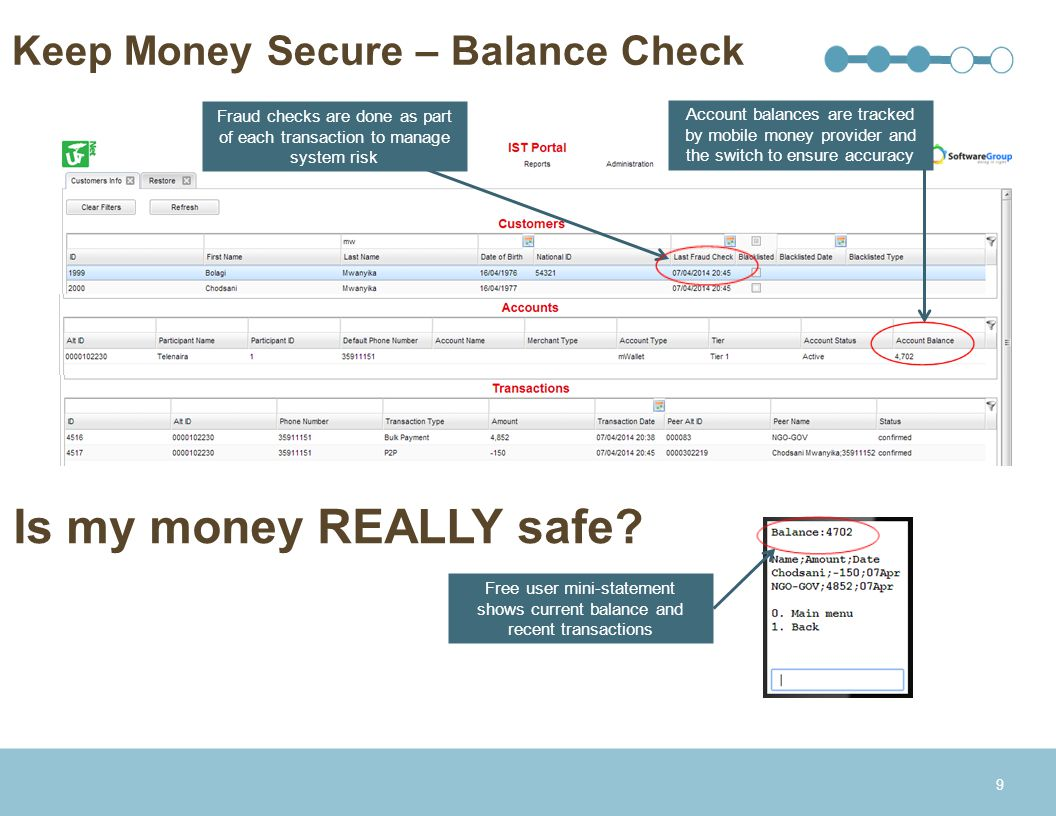 Keep Money Secure – Balance Check 9 Account balances are tracked by mobile money provider and the switch to ensure accuracy Fraud checks are done as p
