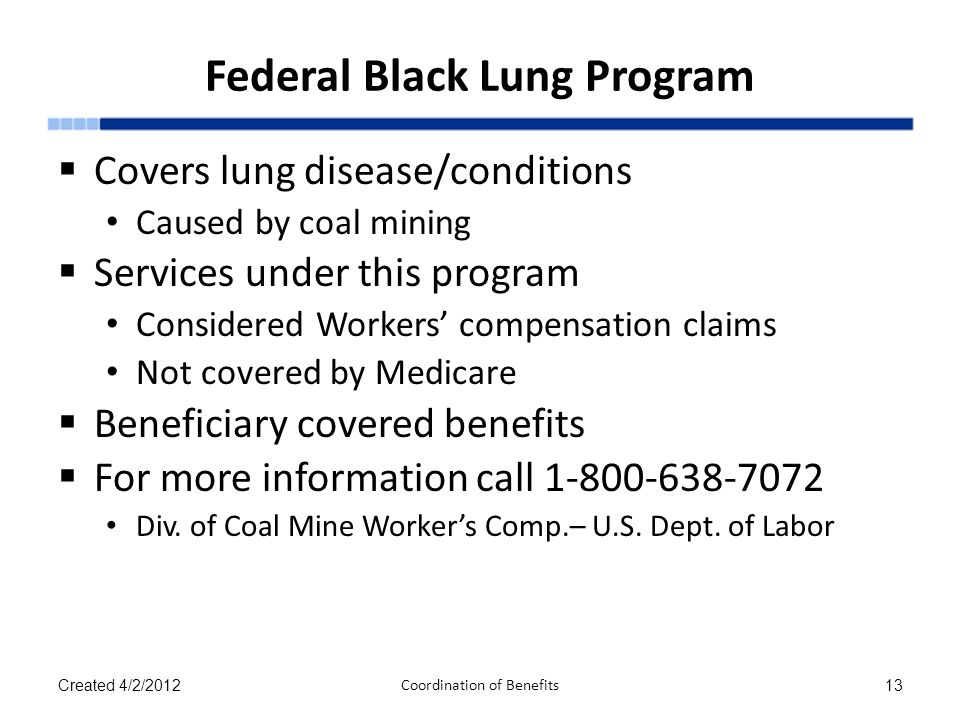 Federal Black Lung Program  Covers lung disease/conditions Caused by coal mining  Services under this program Considered Workers' compensation claim