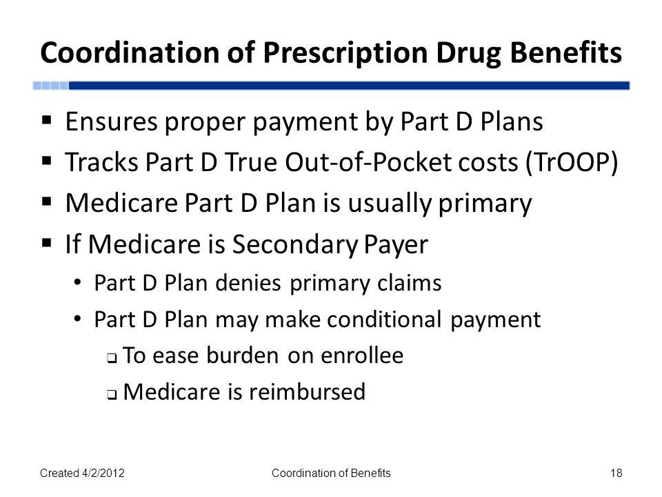  Ensures proper payment by Part D Plans  Tracks Part D True Out-of-Pocket costs (TrOOP)  Medicare Part D Plan is usually primary  If Medicare is Secondary Payer Part D Plan denies primary claims Part D Plan may make conditional payment  To ease burden on enrollee  Medicare is reimbursed Created 4/2/2012Coordination of Benefits18 Coordination of Prescription Drug Benefits