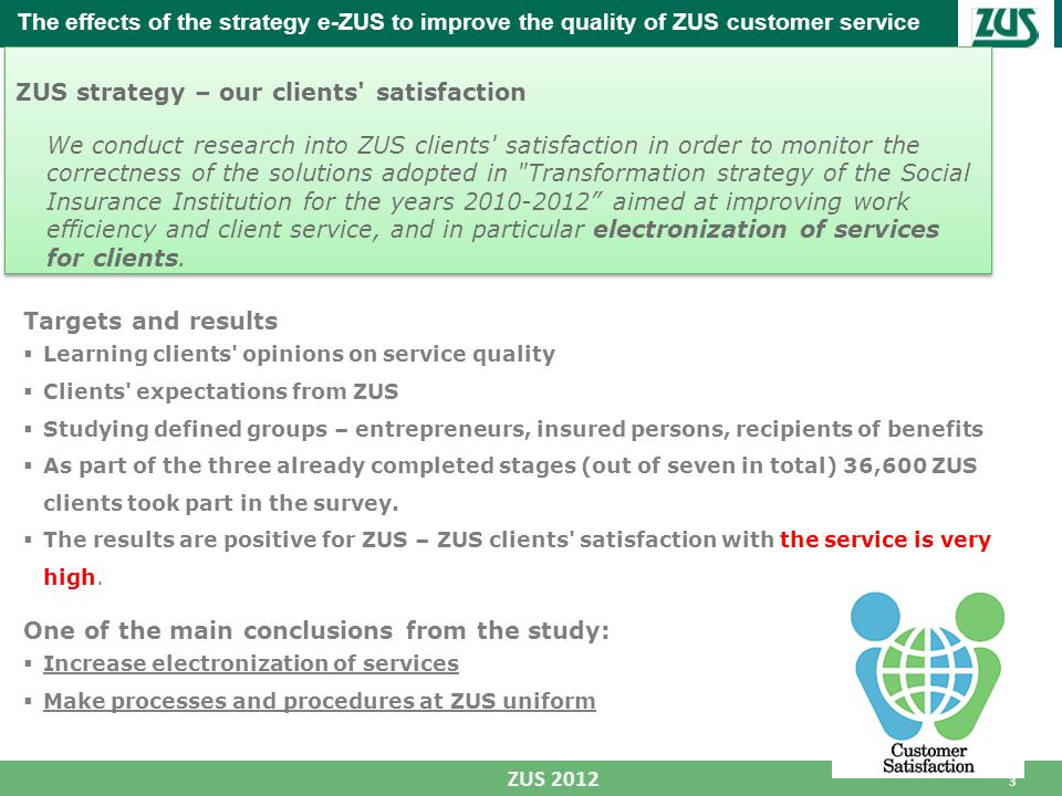 3 ZUS 2012 The effects of the strategy e-ZUS to improve the quality of ZUS customer service ZUS strategy – our clients satisfaction We conduct research into ZUS clients satisfaction in order to monitor the correctness of the solutions adopted in Transformation strategy of the Social Insurance Institution for the years 2010-2012 aimed at improving work efficiency and client service, and in particular electronization of services for clients.