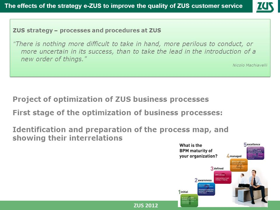 4 ZUS 2012 The effects of the strategy e-ZUS to improve the quality of ZUS customer service ZUS strategy – processes and procedures at ZUS There is nothing more difficult to take in hand, more perilous to conduct, or more uncertain in its success, than to take the lead in the introduction of a new order of things. Nicolo Machiavelli ZUS strategy – processes and procedures at ZUS There is nothing more difficult to take in hand, more perilous to conduct, or more uncertain in its success, than to take the lead in the introduction of a new order of things. Nicolo Machiavelli Project of optimization of ZUS business processes First stage of the optimization of business processes: Identification and preparation of the process map, and showing their interrelations