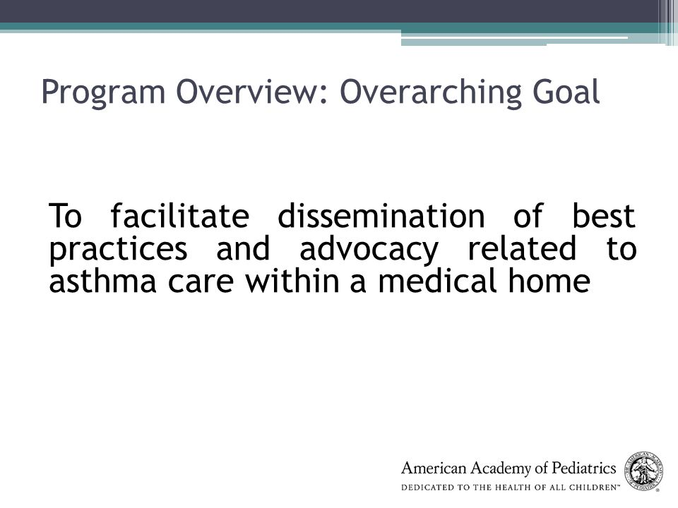 Program Overview: Overarching Goal To facilitate dissemination of best practices and advocacy related to asthma care within a medical home