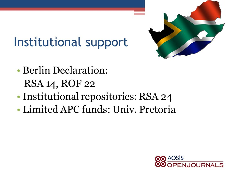 Institutional support Berlin Declaration: RSA 14, ROF 22 Institutional repositories: RSA 24 Limited APC funds: Univ.