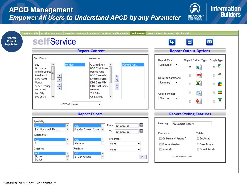 ** Information Builders Confidential ** APCD Management Empower All Users to Understand APCD by any Parameter Analyze Patient Population