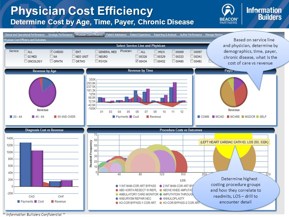 Physician Cost Efficiency Determine Cost by Age, Time, Payer, Chronic Disease Determine highest costing procedure groups and how they correlate to readmits, LOS – drill to encounter detail Based on service line and physician, determine by demographics, time, payer, chronic disease, what is the cost of care vs revenue ** Information Builders Confidential **