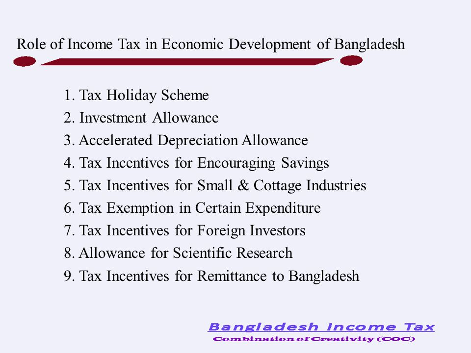 1. Tax Holiday Scheme 2. Investment Allowance 3. Accelerated Depreciation Allowance 4. Tax Incentives for Encouraging Savings 5. Tax Incentives for Sm