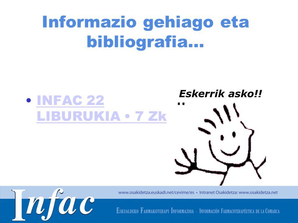 http://www.osakidetza.euskadi.net Informazio gehiago eta bibliografia… INFAC 22 LIBURUKIA 7 ZkINFAC 22 LIBURUKIA 7 Zk Eskerrik asko!!