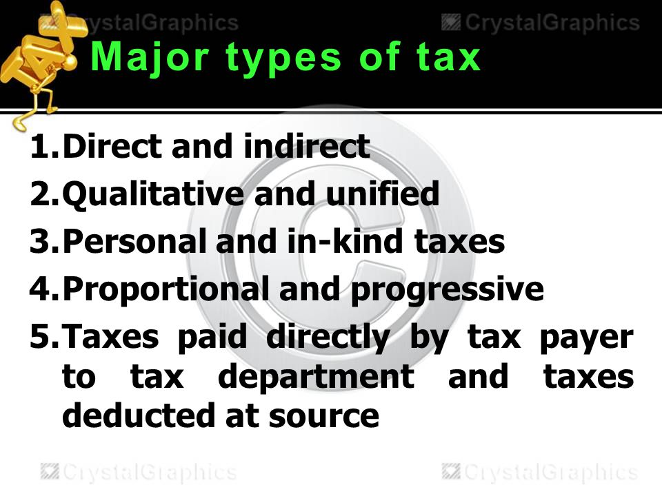 Major types of tax 1.Direct and indirect 2.Qualitative and unified 3.Personal and in-kind taxes 4.Proportional and progressive 5.Taxes paid directly by tax payer to tax department and taxes deducted at source