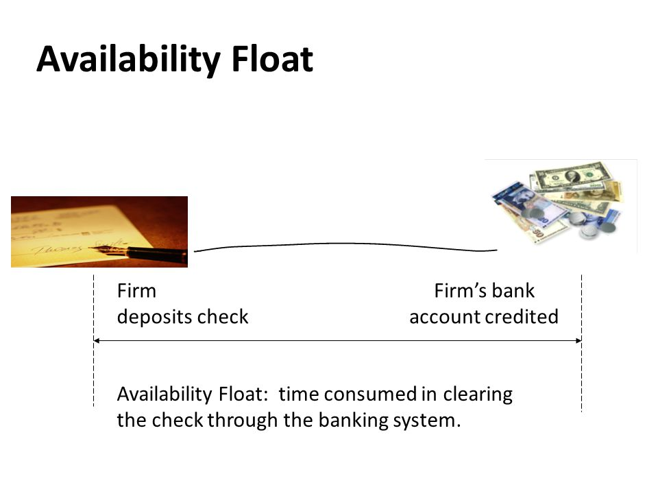 Availability Float Availability Float: time consumed in clearing the check through the banking system. Firm deposits check Firm's bank account credite