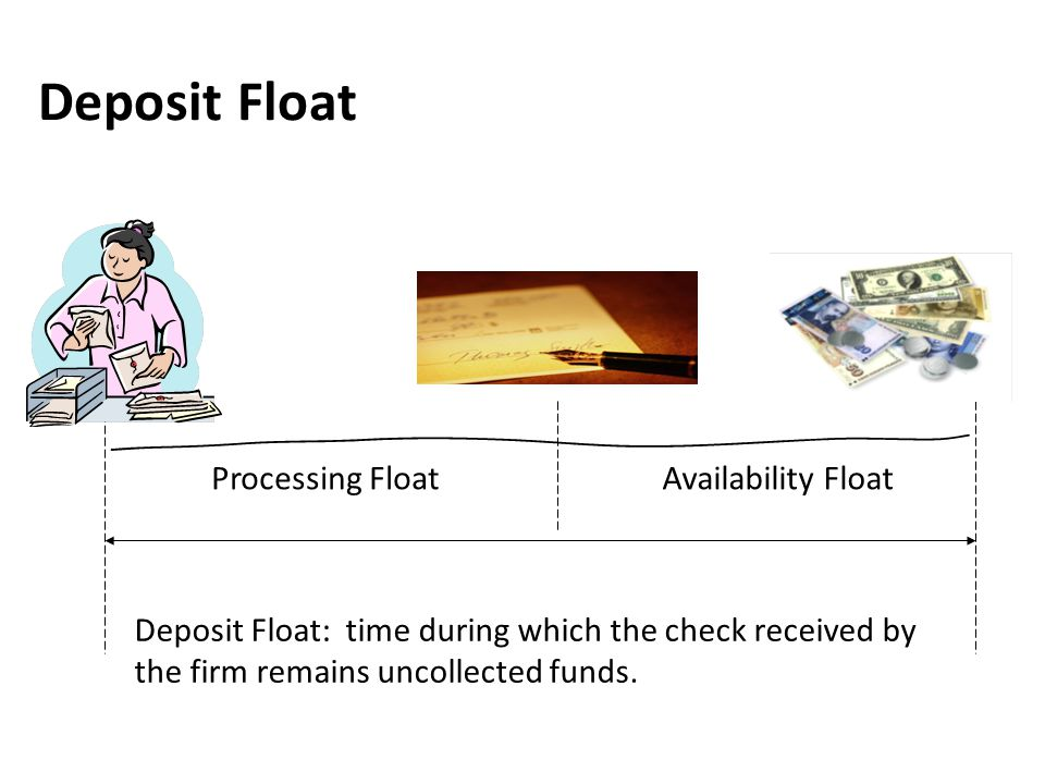 Deposit Float Deposit Float: time during which the check received by the firm remains uncollected funds. Processing FloatAvailability Float