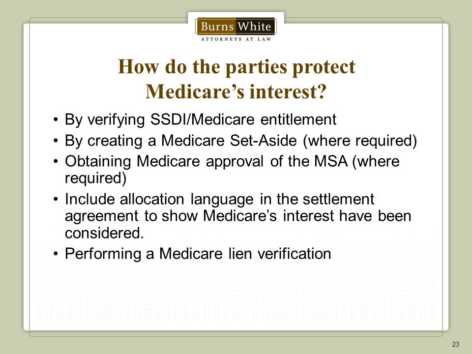 How do the parties protect Medicare's interest.