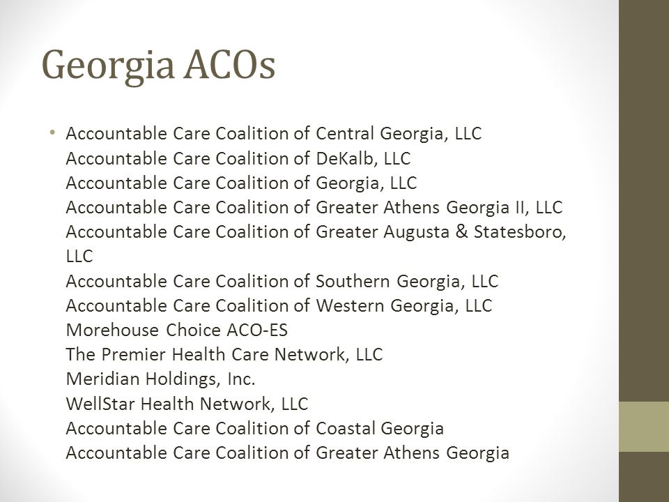 Georgia ACOs Accountable Care Coalition of Central Georgia, LLC Accountable Care Coalition of DeKalb, LLC Accountable Care Coalition of Georgia, LLC A