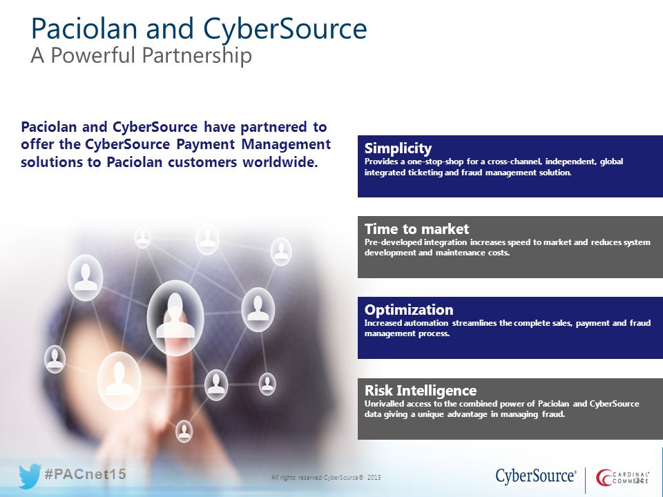 All rights reserved CyberSource® 2015 #PACnet15 All rights reserved CyberSource® 2015 #PACnet15 Paciolan and CyberSource A Powerful Partnership 24 Paciolan and CyberSource have partnered to offer the CyberSource Payment Management solutions to Paciolan customers worldwide.